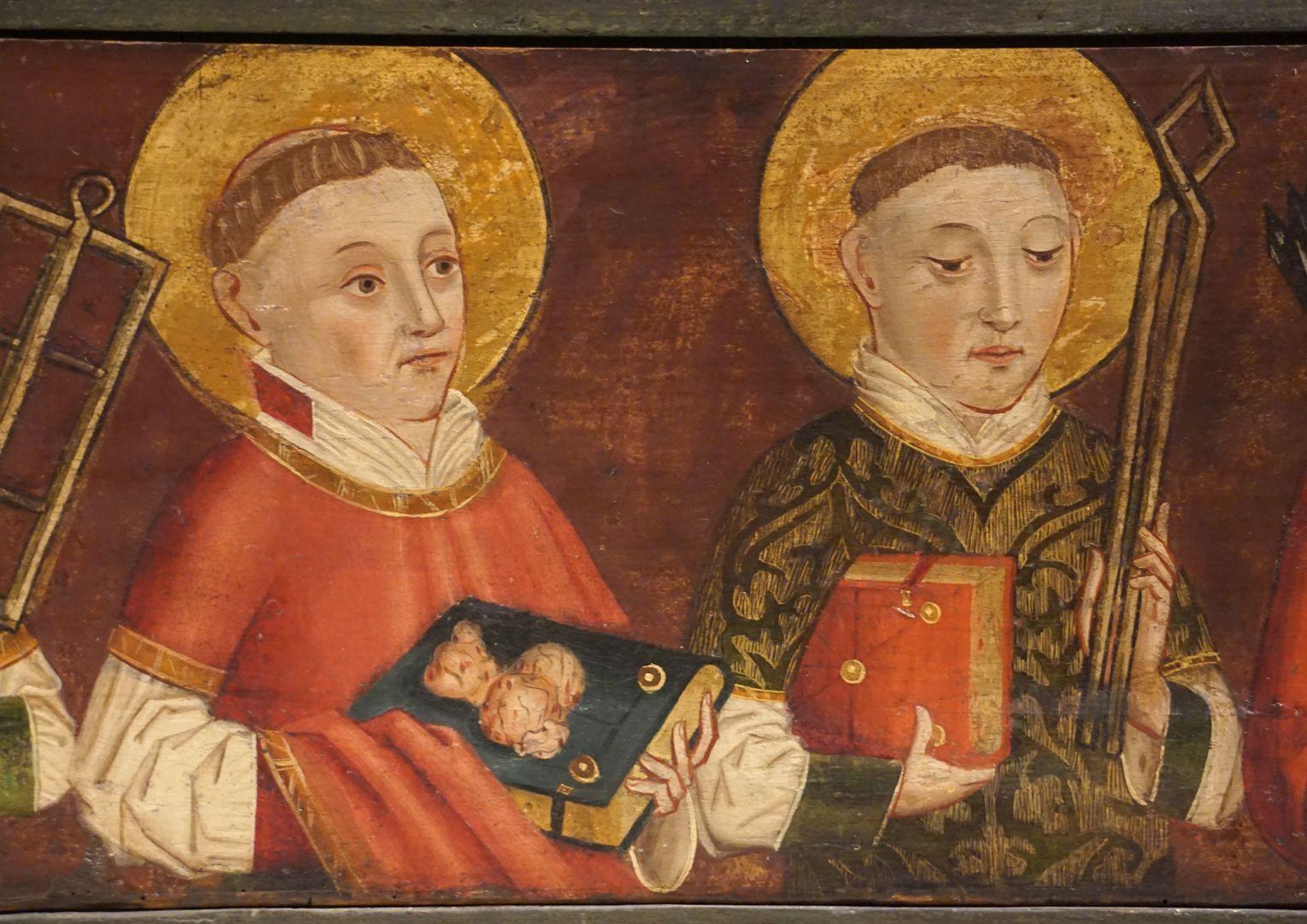 Krell-Altar linke Predellahälfte mit den Heiligen: Stephanus und Vincentius, Detailansicht