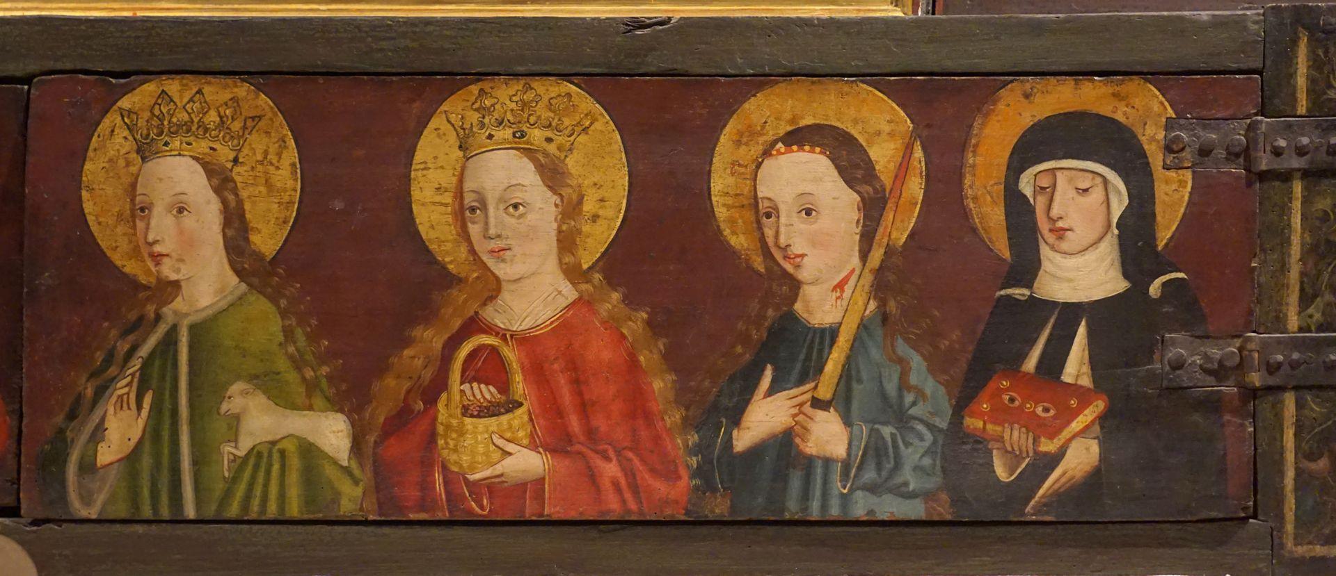 Krell-Altar rechte Predellahälfte mit den Heiligen: Agnes, Dorothea, Lucia und Ottilia (Odilia)