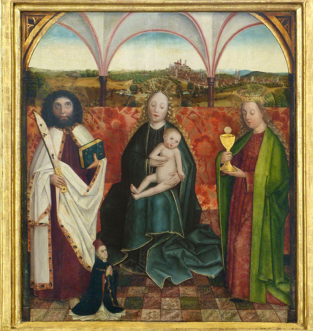 Krell-Altar Mitteltafel mit thronender Maria mit Kind, St. Bartholomäus und St. Barbara und der Stifterfigur des Jodocus Krell im Vordergrund. Im Hintergrund die Stadtansicht von Nürnberg.