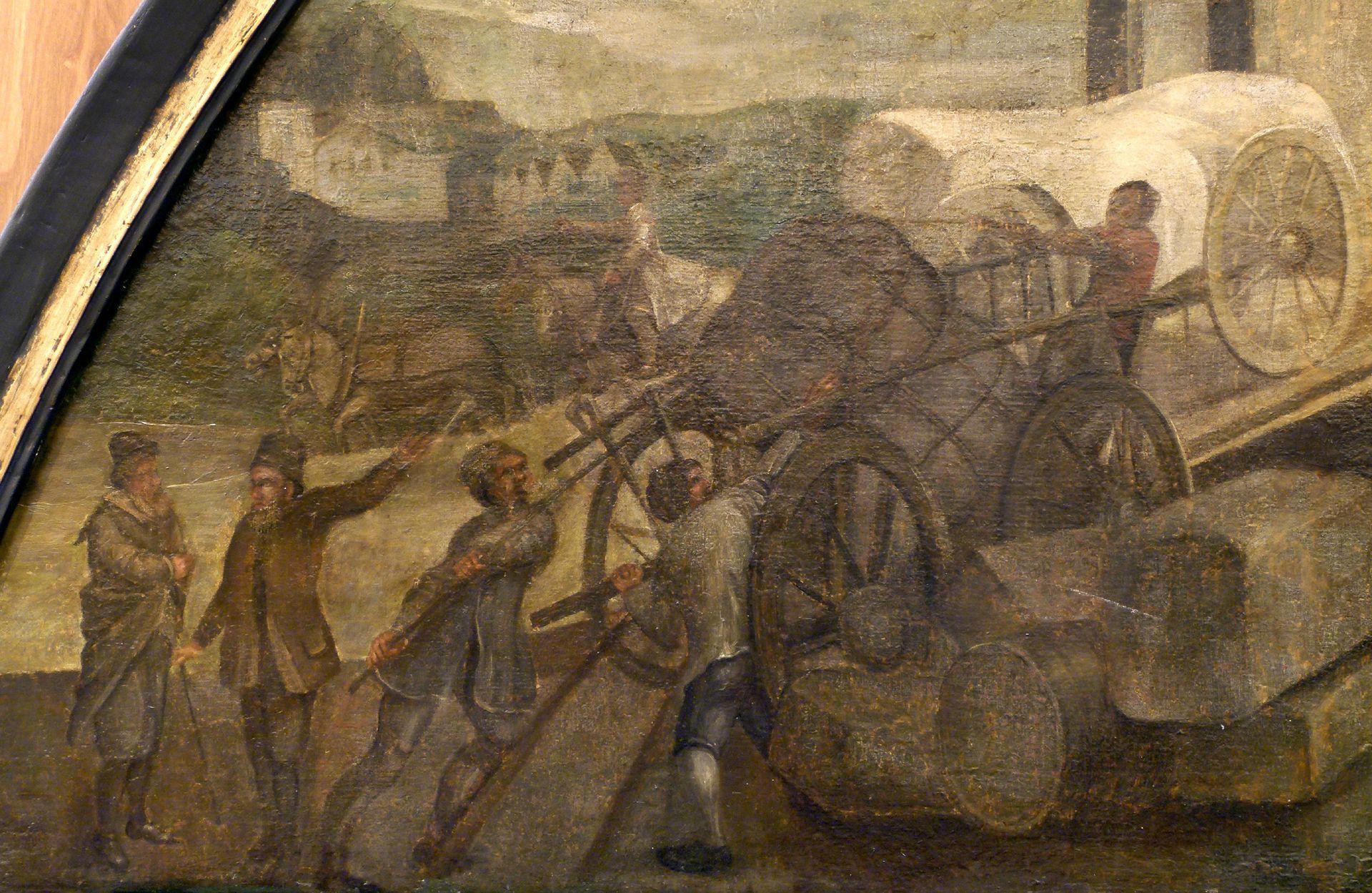 Bancoherren und Banchieri (gentlemen-bankers and banchieri) Left scene: Unloading a bale of goods