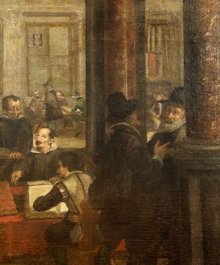 Bancoherren und Banchieri (gentlemen-bankers and banchieri) Detail: Talks in the columned hall