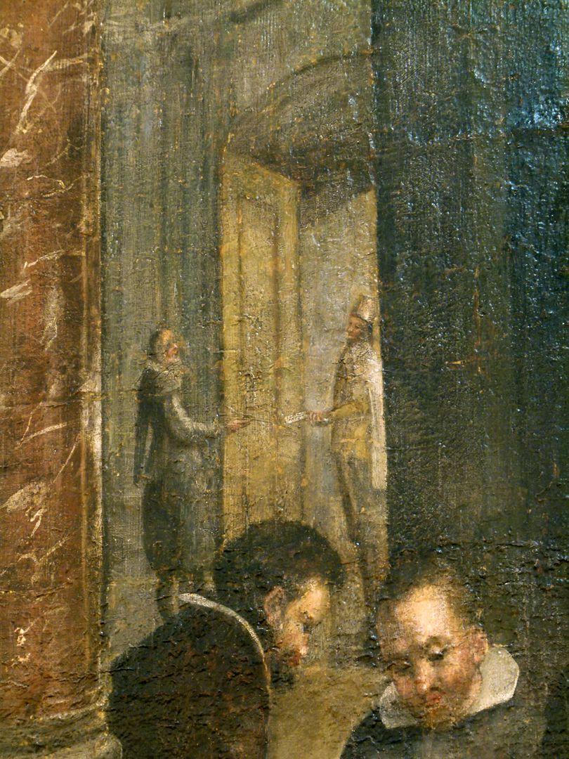 Bancoherren und Banchieri (gentlemen-bankers and banchieri) Detail: Exchanging messages at the door