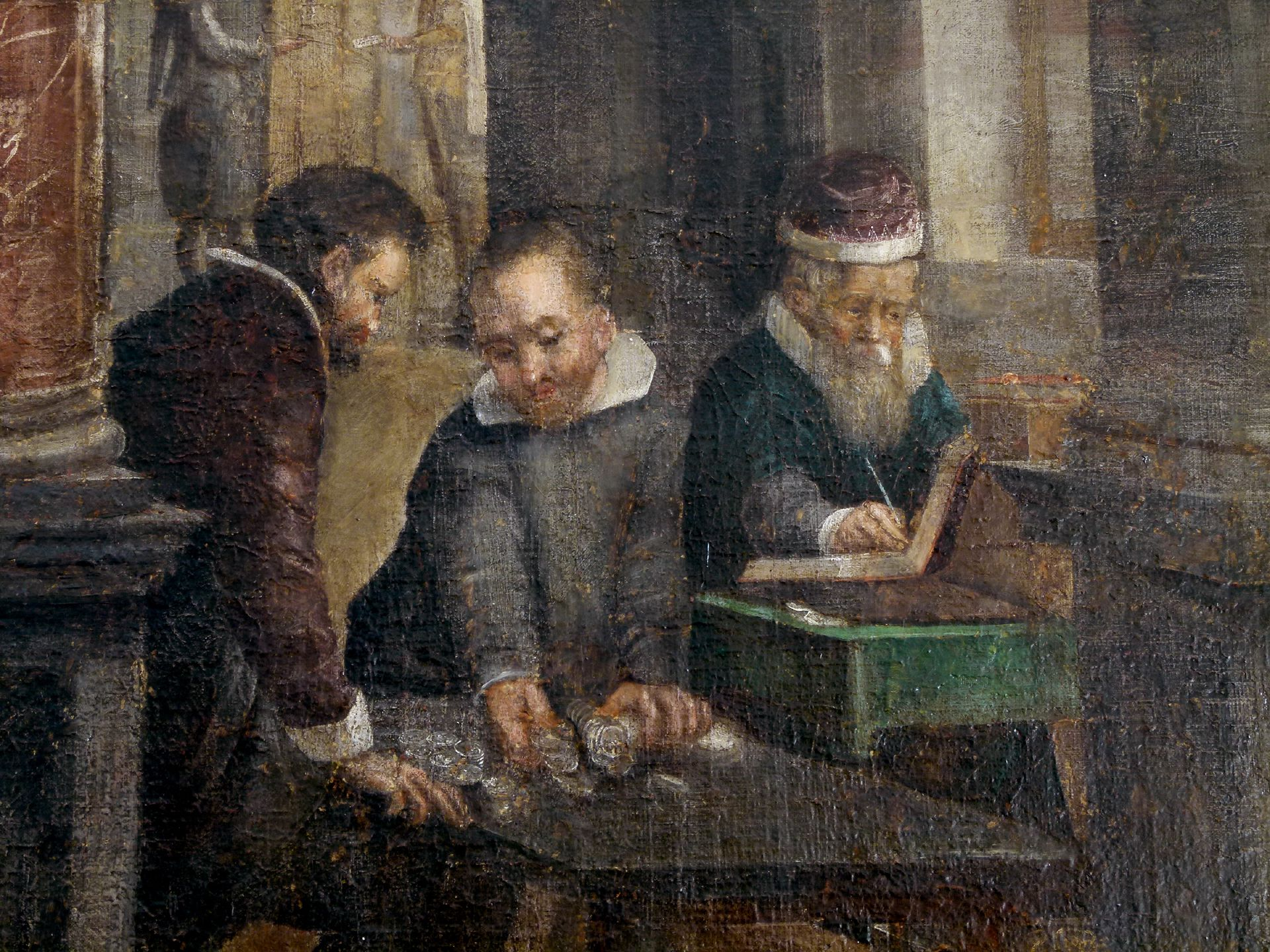 Bancoherren und Banchieri (gentlemen-bankers and banchieri) Counting money at the cash desk