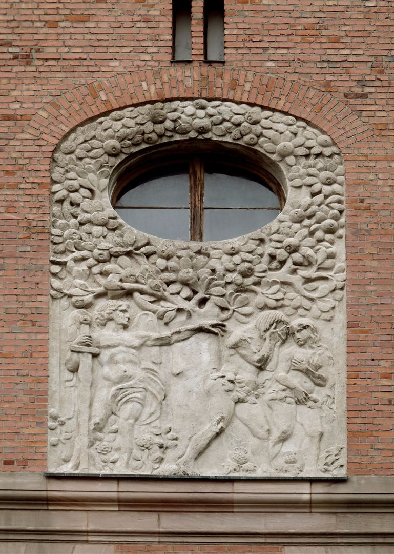 Dr. Theo-Schöller-School Relief on the twin gables: Expulsion from Paradise