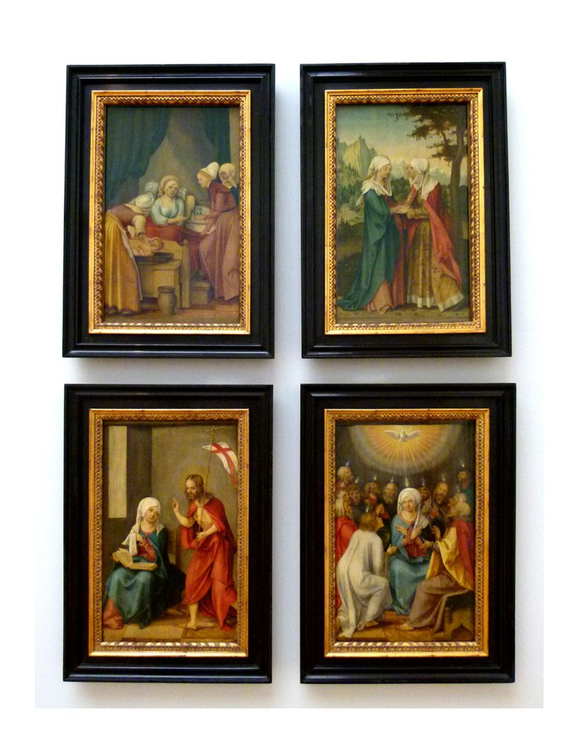 Four panels from a Life-of-the-Virgin-Altar Vier Tafeln aus einem Marienleben-Altar