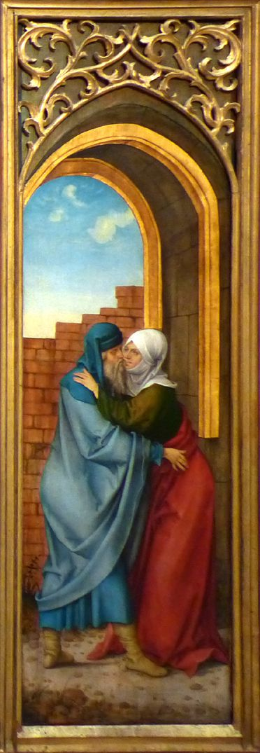 Rosary Triptych (Madrid) Right wing: Anna and Joachim meet at the Golden Gate