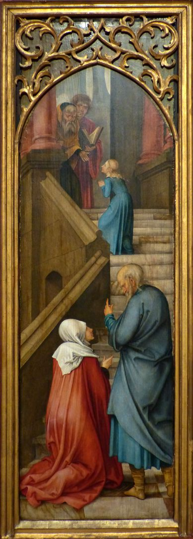 Rosary Triptych (Madrid) Left wing: St. Joachim and Anna at the stairs to the temple, St. Mary as a child ascends the stairs towards the priests