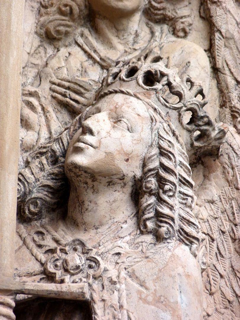 Epitaph of Kunz Horn Detail of crowned angel carrying God's sword