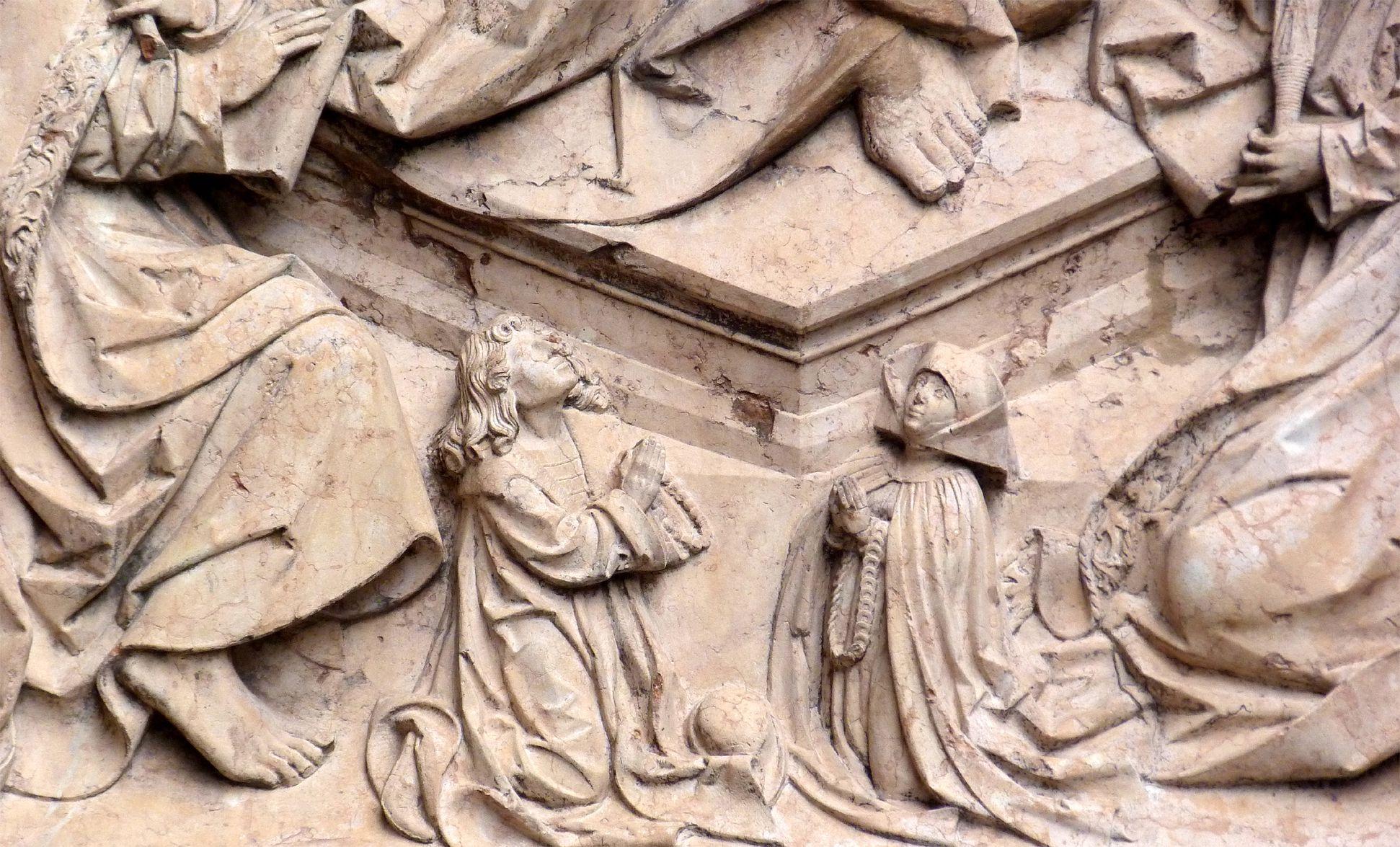 Epitaph des Kunz Horn betendes Stifterpaar zu Füßen Christi