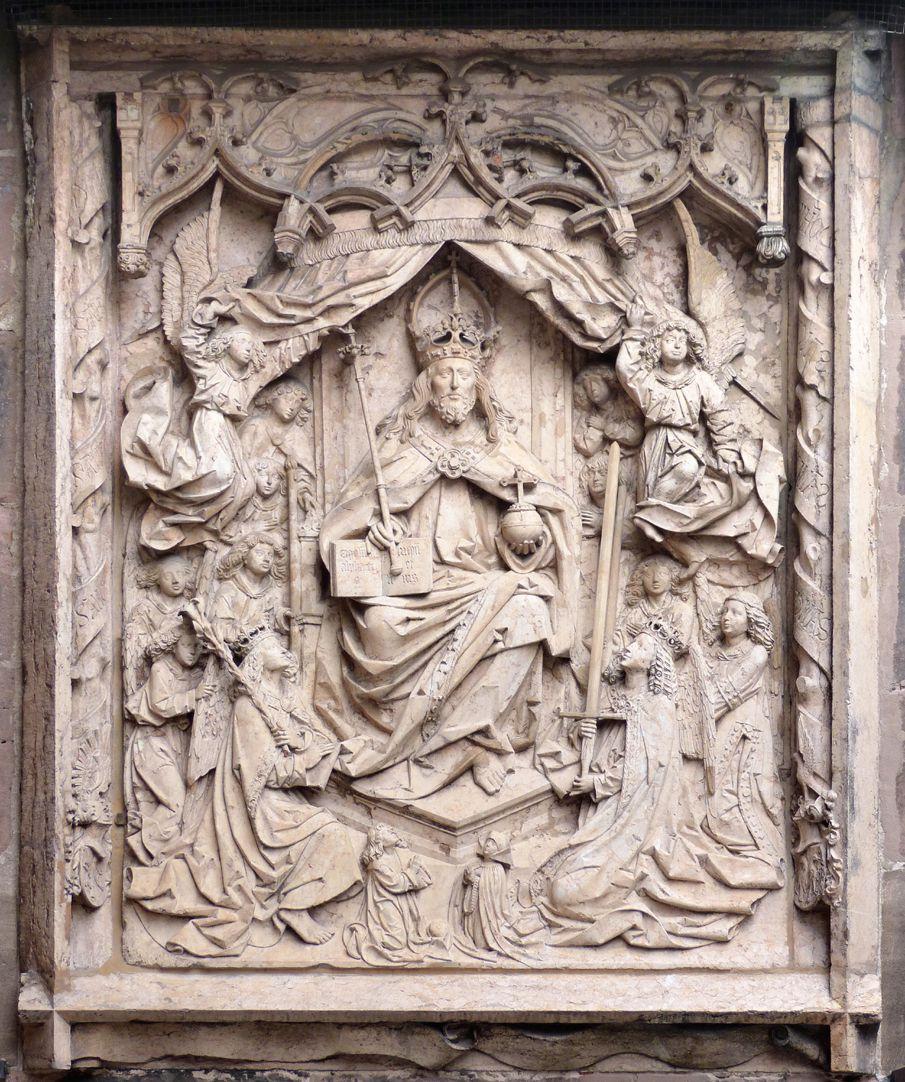 Epitaph des Kunz Horn Gesamtansicht mit überstabter Umrandung und darunterlaufenden Filakterie, thronender Christus als Herrscher, Weltenrichter und Personifizierung der Dreieinigkeit