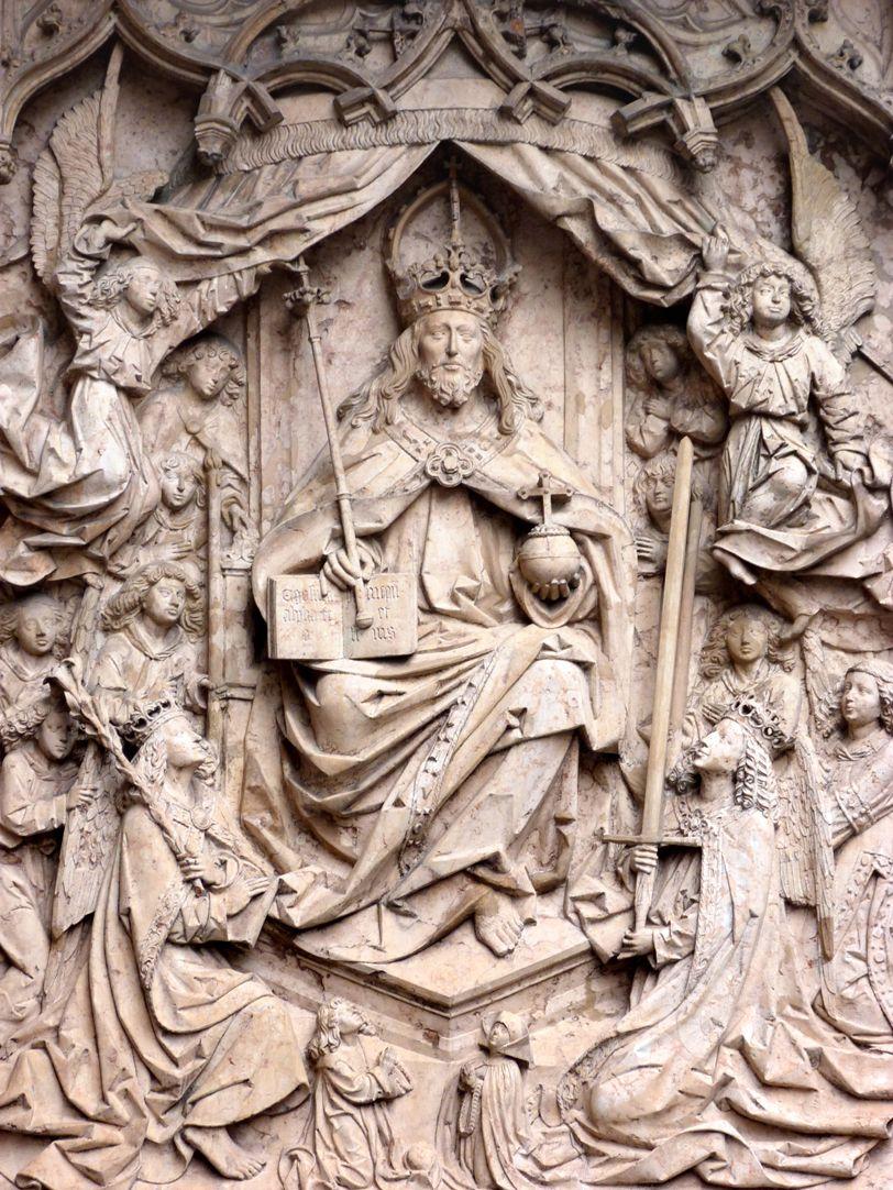 Epitaph des Kunz Horn Mittelteil mit thronendem Christus als Herrscher, Weltenrichter und Personifizierung der Dreieinigkeit