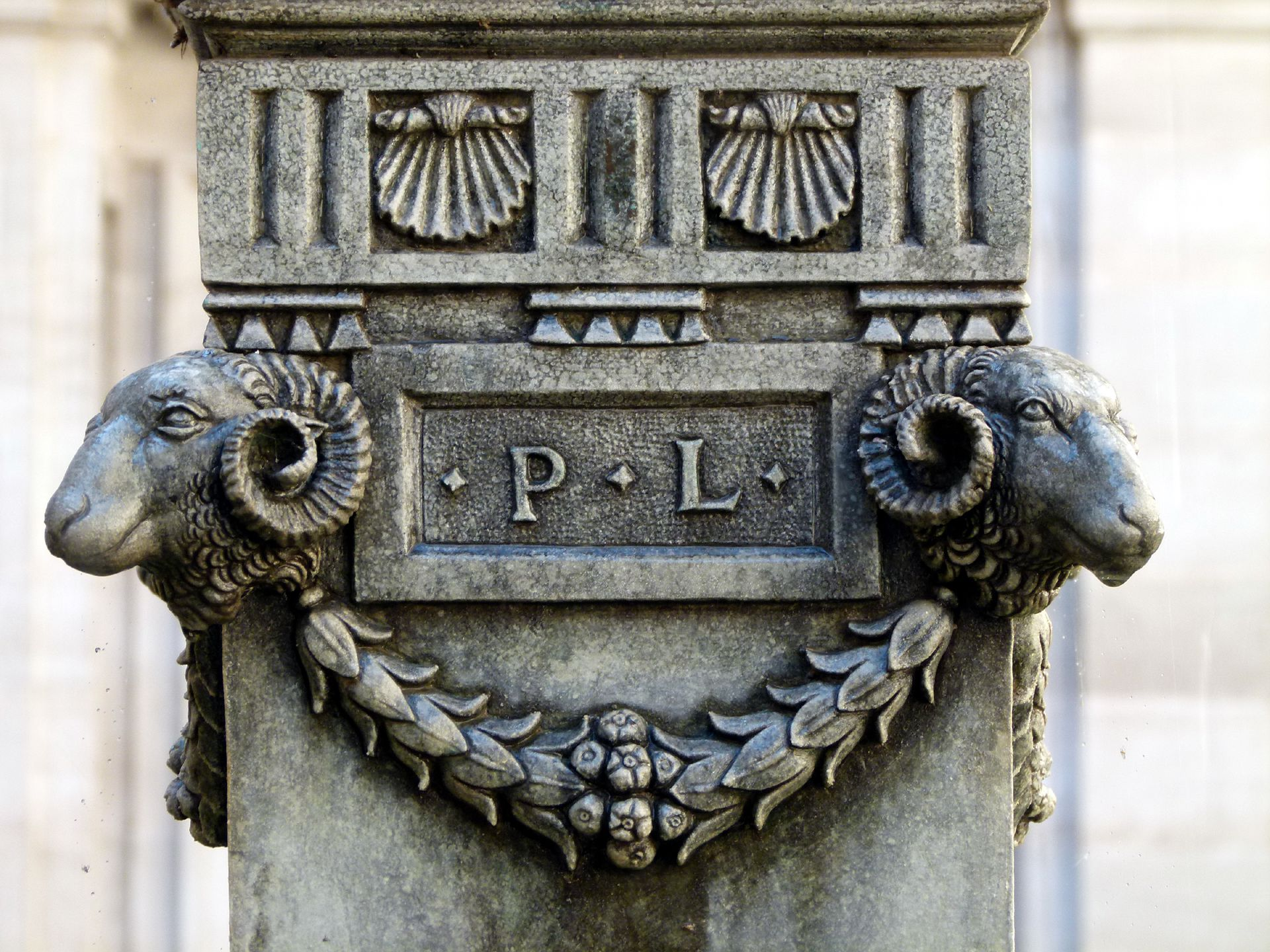Putto-Fountain Signature of Pankraz Labenwolf between ram heads and garland