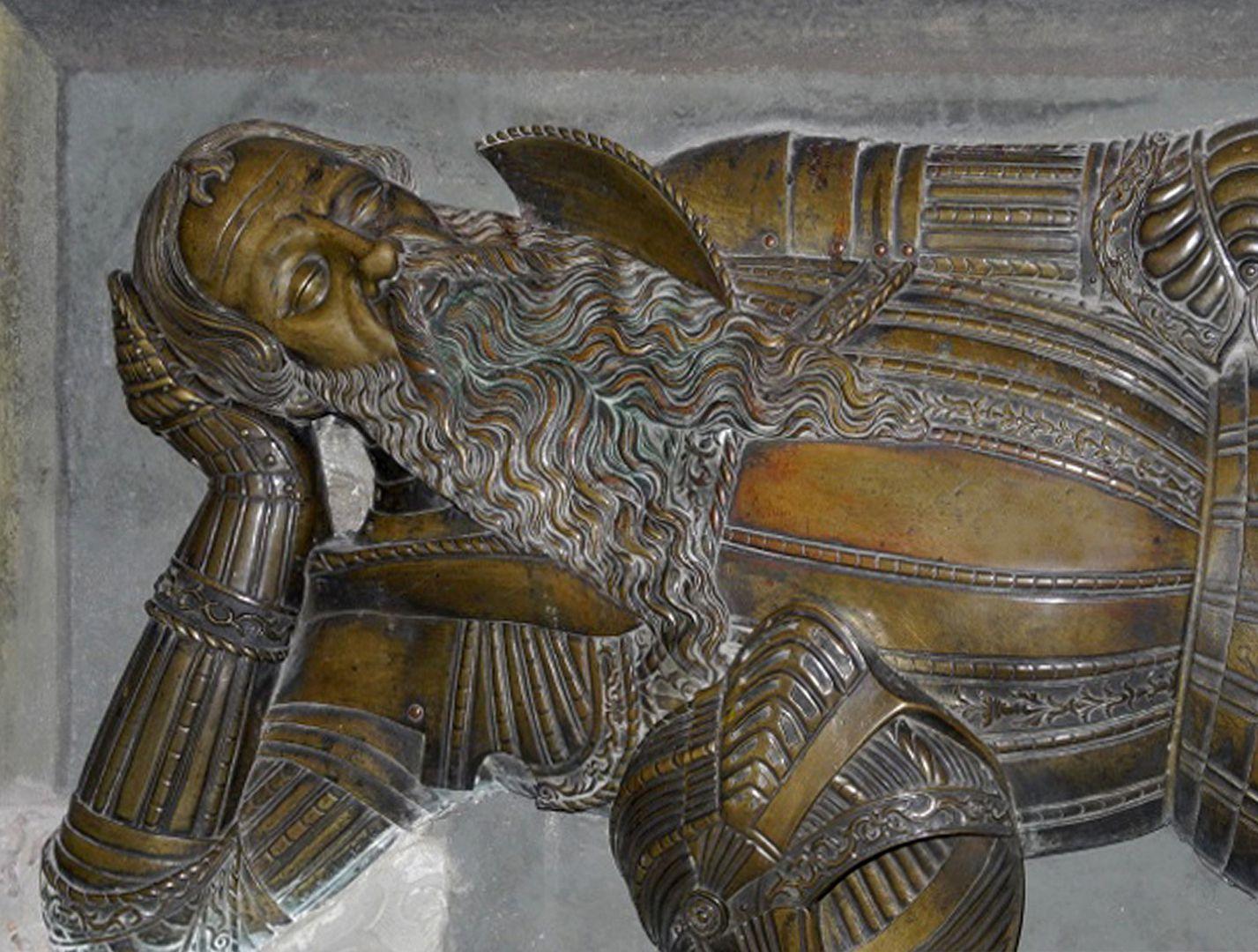 Tomb figure of Nicolaus Herburt-Odnowski (Lemberg, Ukraine) Detail: Breastplate and head