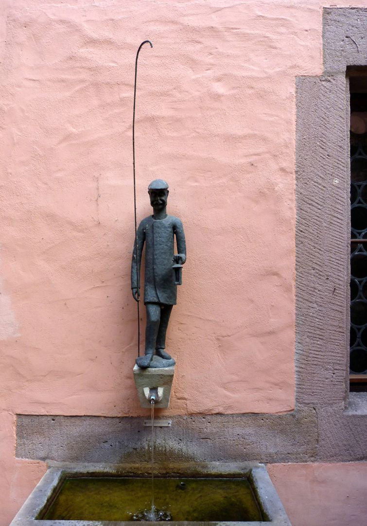 Lantern Lighter Fountain Figure with Fountain basin