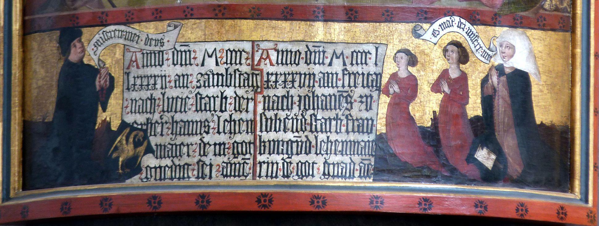 Lehenmaier Epitaph Stifterfamilie und Inschrift mit Todesdaten