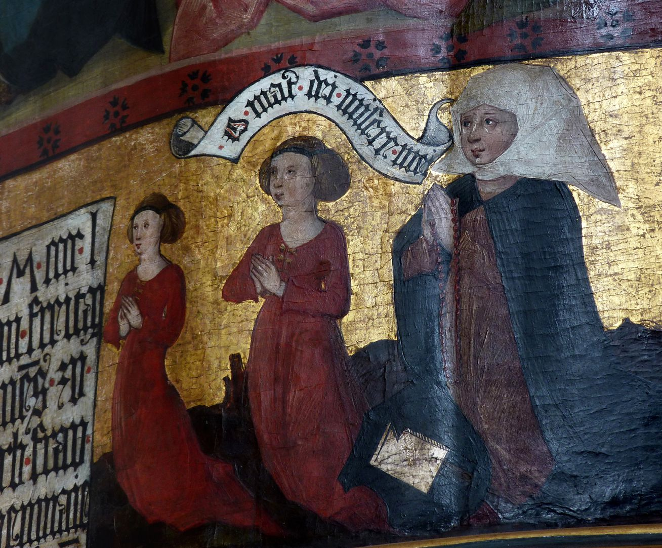 Lehenmaier Epitaph Stifterin mit zwei Töchtern