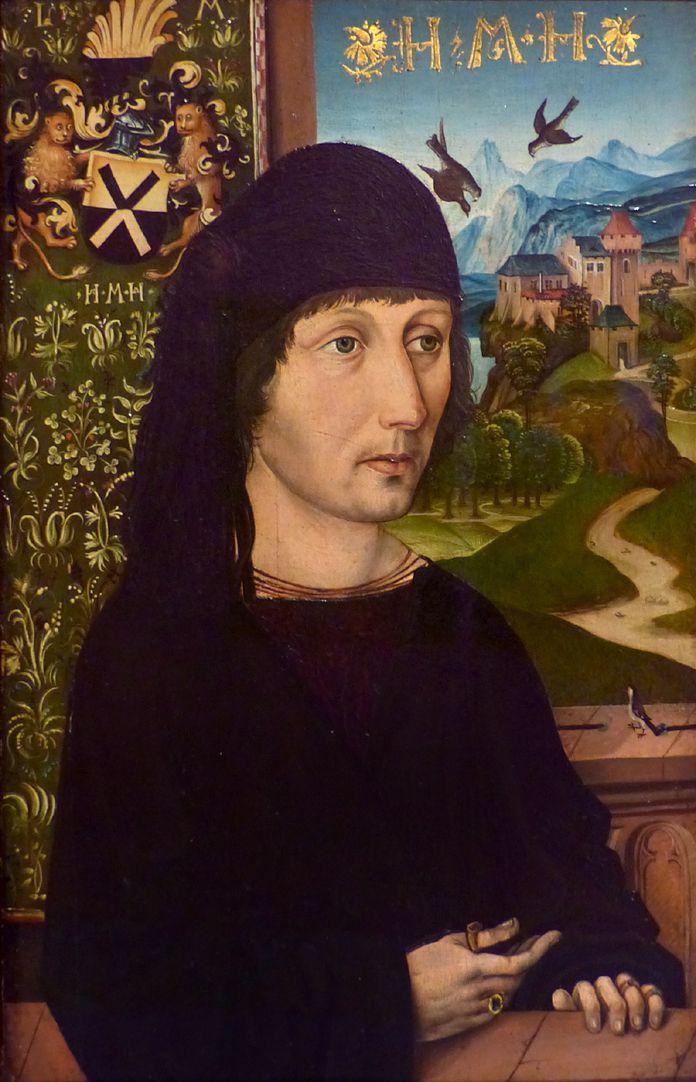 Portrait des Levinus Memminger Gesamtansicht, links im Hintergrund ein Wandteppich mit Familienwappen, rechts Landschaft mit Burg.
