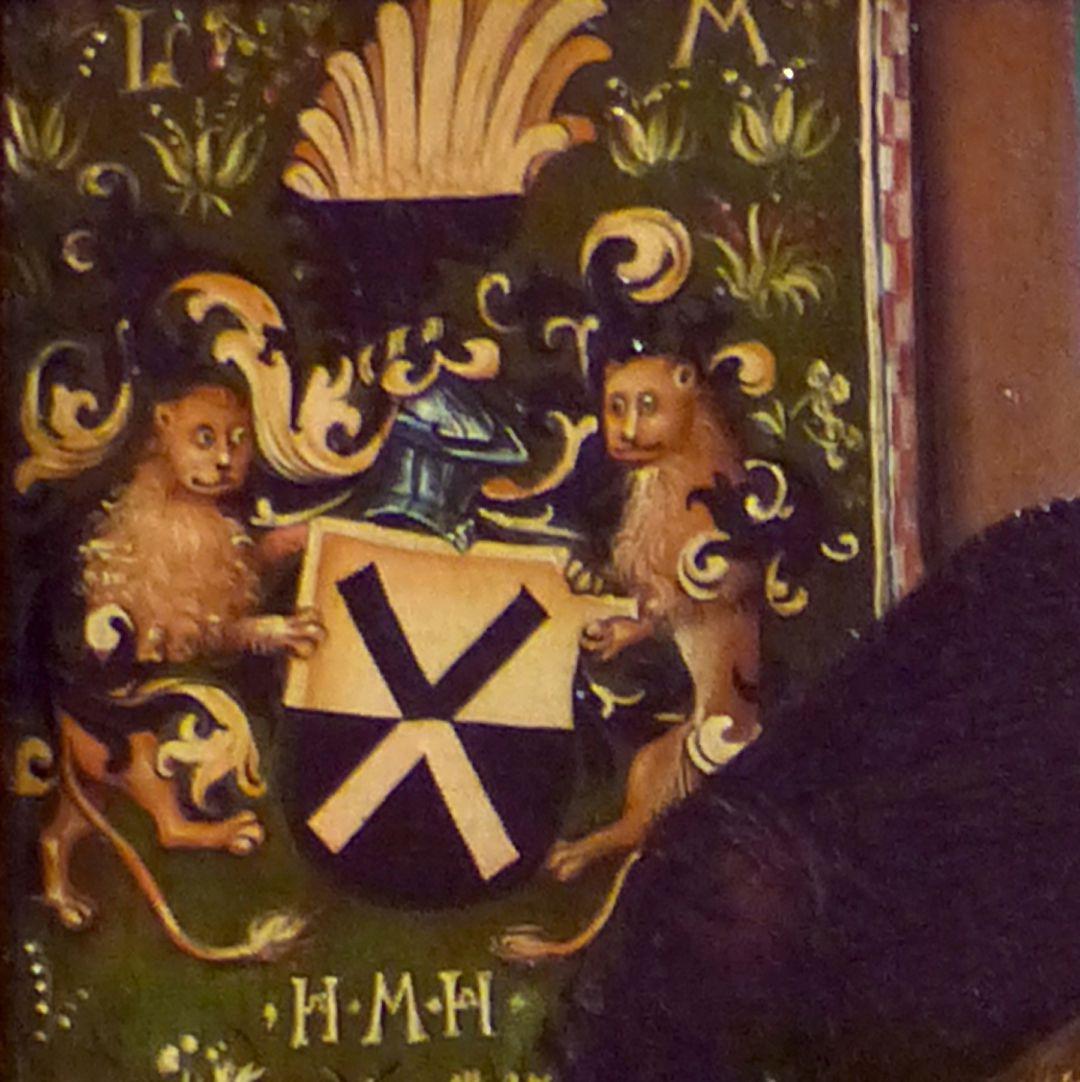 Portrait des Levinus Memminger Detail, Familienwappen, seitlich der Helmzier die Buchstaben L M, unten die Buchstaben H M H
