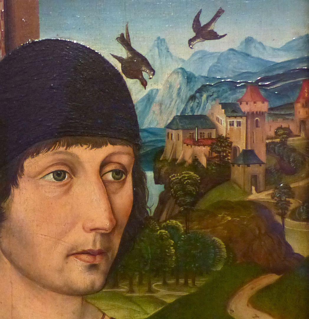 Portrait des Levinus Memminger Gesicht und Burg und darüber fliegenden Vögel