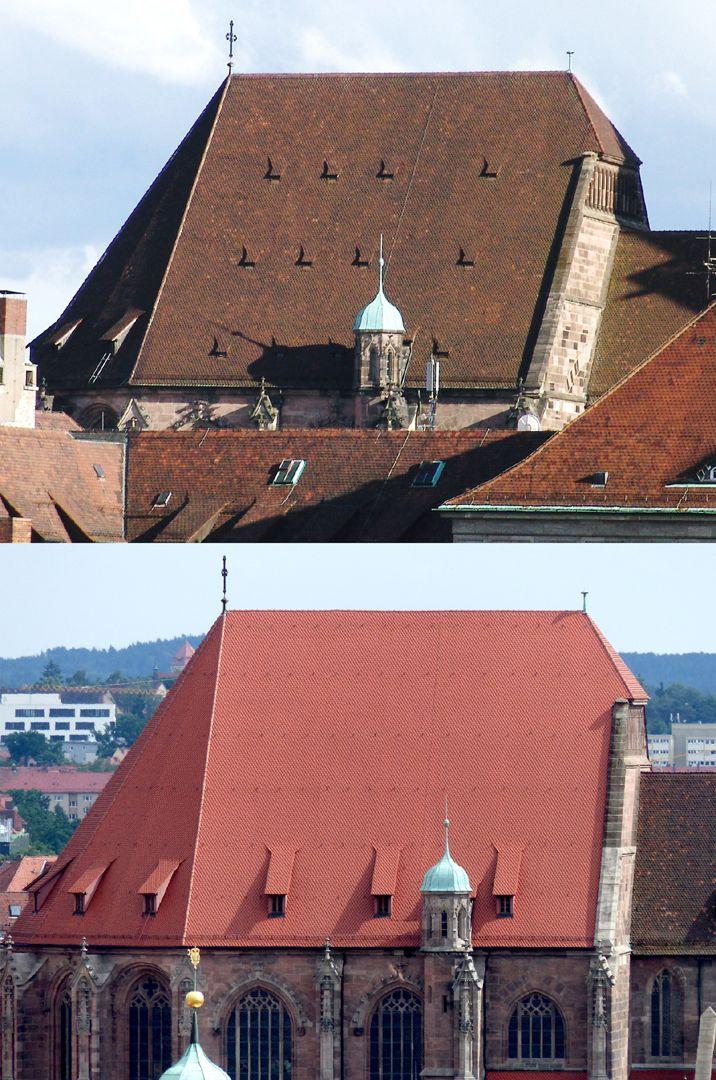 Die Lorenzkirche als Architektur oben: Chordach Zustand vor 2010. unten: nach 2011. Der Verlust der seit dem Mittelalter zahlreichen Gauben bei der Dachrenovierung ist eine Verarmung für die Kirche und die ganze Dachlandschaft der Altstadt.