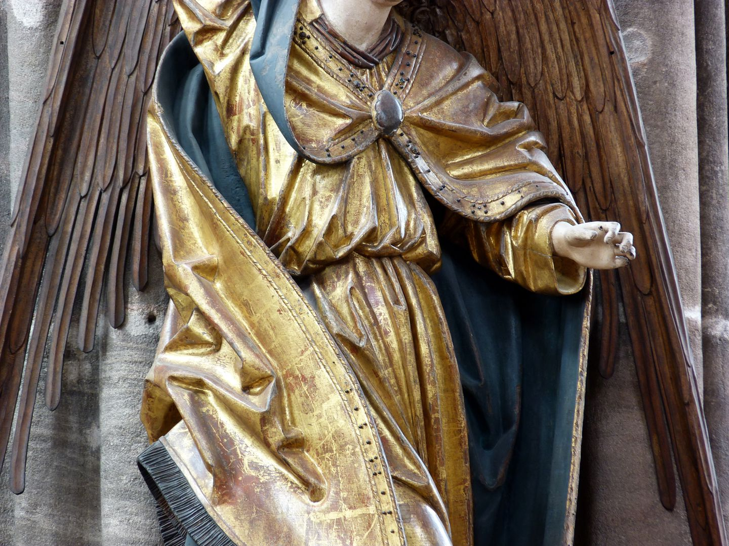 Archangel Michael Central part, detail: The left hand was carrying a weighing scale that was lost