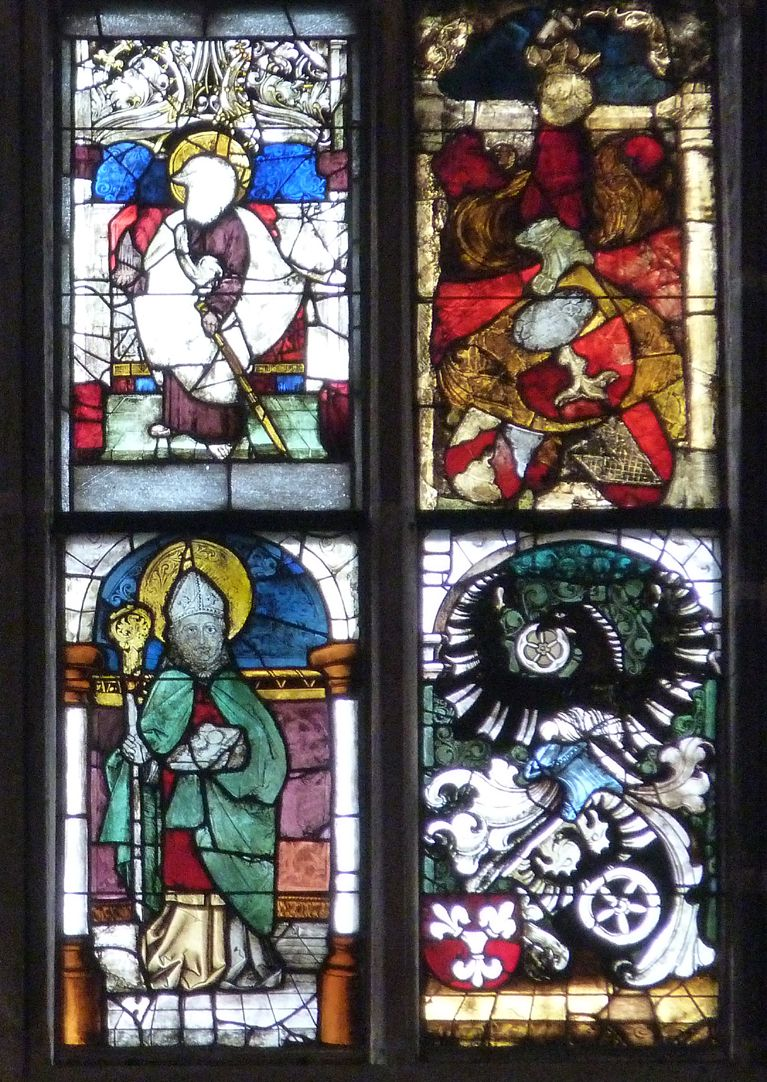 Ratsfenster unterstes Band, rechte Hälfte, oben: links St. Sebald, rechts   Pirckheimer-Wappen; unten: links, Heiliger Stephanus, rechts, Wappen Stromer und ?
