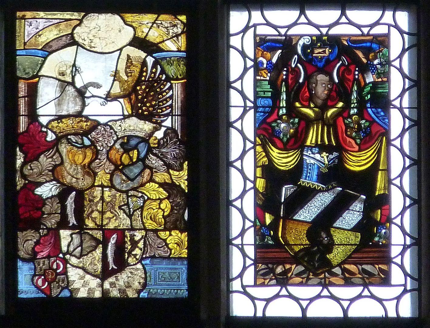 Ratsfenster zweitoberste Zeile links: Muffel- und Tucherwappen, 16.Jh.