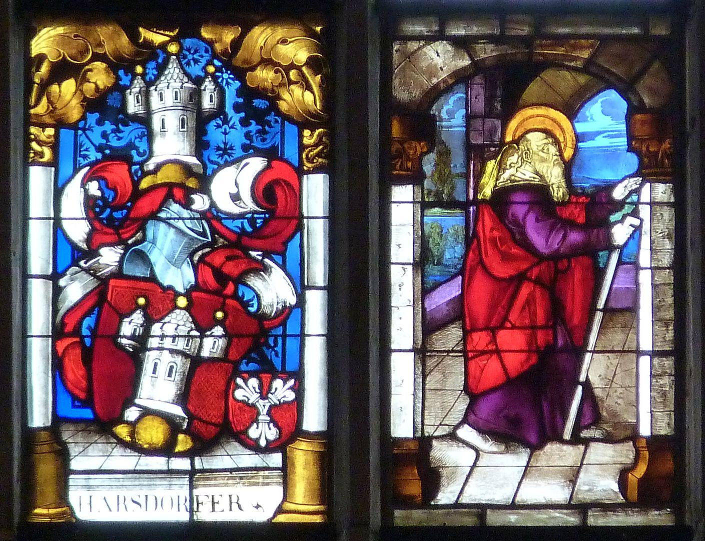 Ratsfenster mittlere Zeile links, auf der Linken: Harsdorferwappen 17. Jh., auf der Rechten: Joachim aus einer Begegnung an der Goldenen Pforte, 16.Jh.