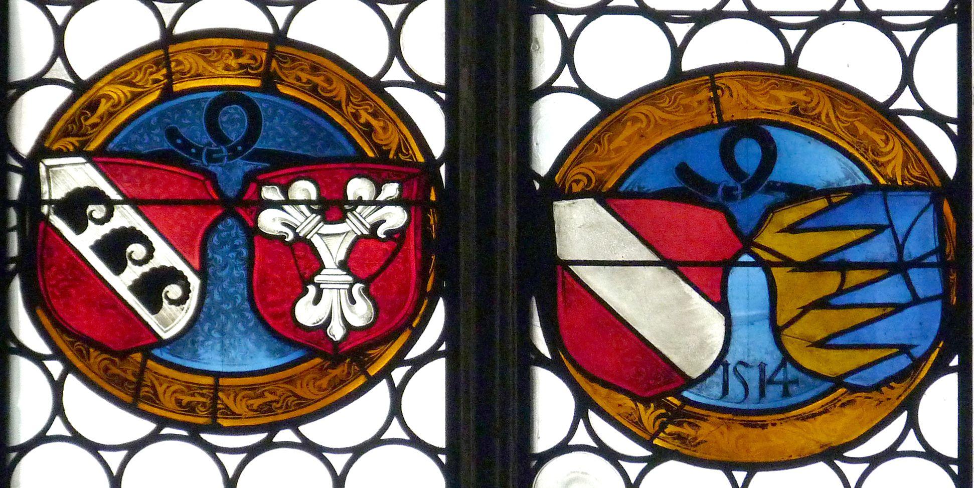 Ehem. Schnöd-Fenster Allianzwappen der Familie Schnöd, das rechte von 1514