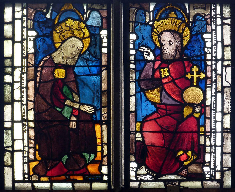 Ehem. Schnöd-Fenster unterste Zeile: Verherrlichung der Gottesmutter Maria, spätes 14. Jh.