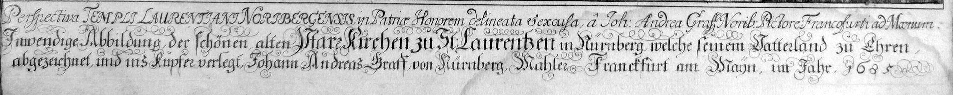 """Urbis Norimbergensis Insigniorum Templorum…"" St. Lorenz-Church Inscription"