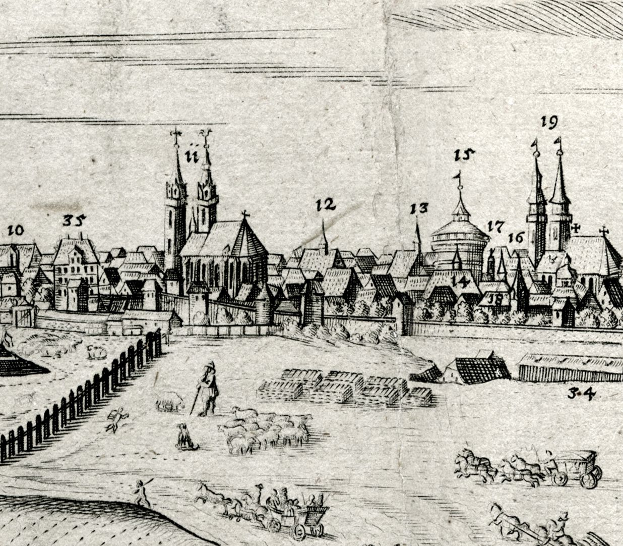 When Germany was at peace, before the attack of the Huns City panorama with new grain store and St. Sebaldus