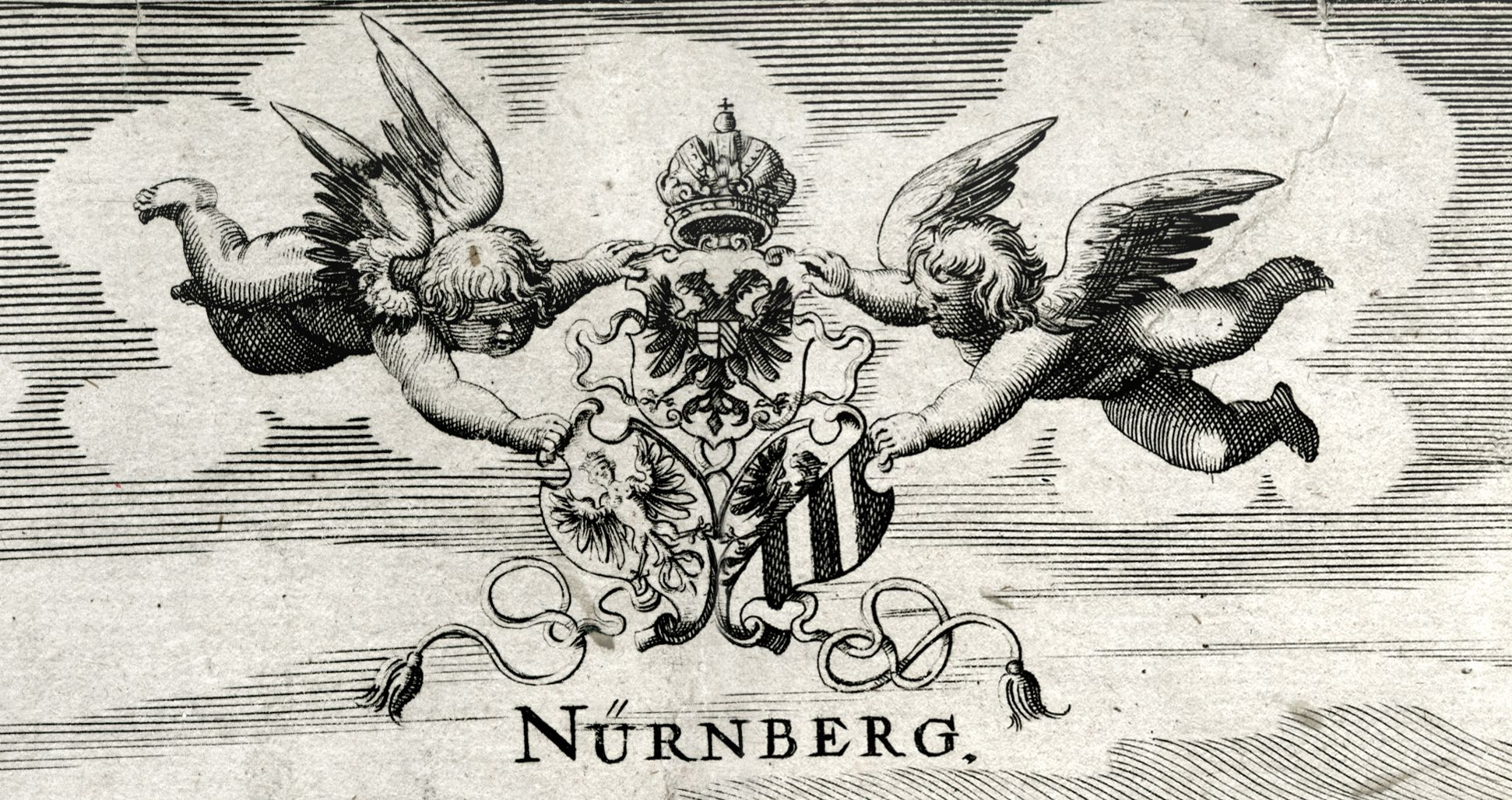When Germany was at peace, before the attack of the Huns Two putti with threefold coat of arms