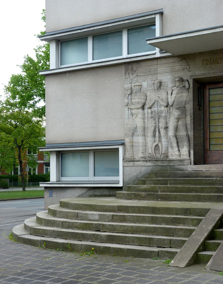 Administration building of the Franconian electricity supplier Entrance with staircase, detail