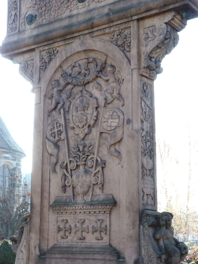 Gedächtnisstein des Wolfgang Münzer Rückansicht, Hauptplatte mit heraldisch/emblematischer Darstellung