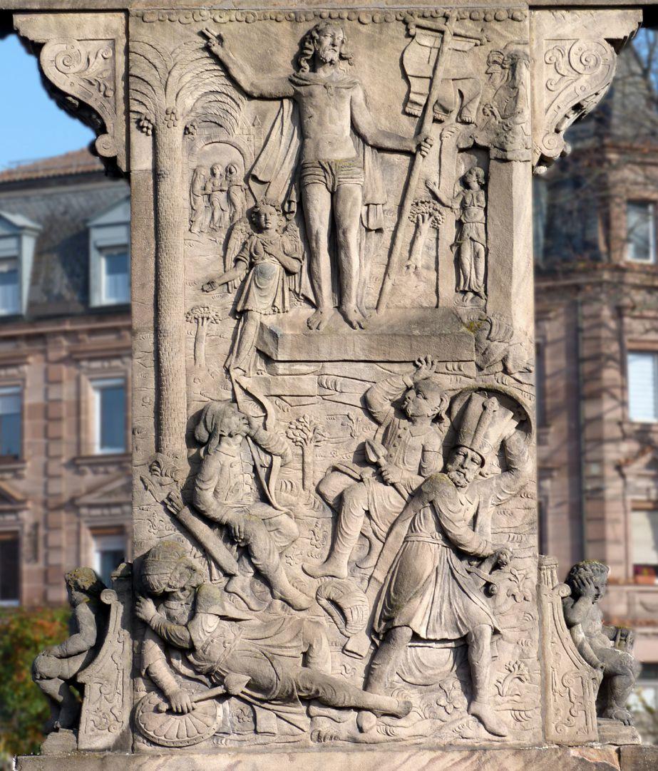 Gedächtnisstein des Wolfgang Münzer Hauptplatte, Vorderseite: Die Auferstehung Christi mit Anspielung an die Befreiung des Sohnes Wolfgang Münzer