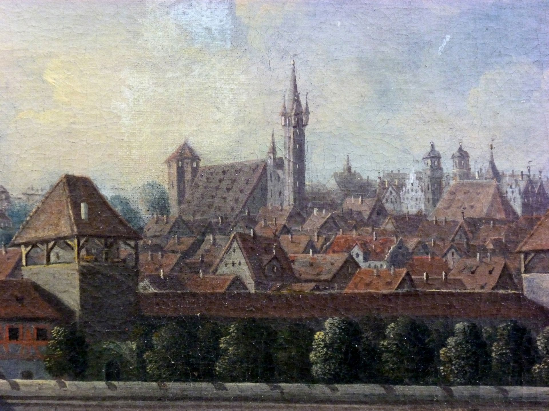 View of the City of Nuremberg from the east Detail with wall (Tower blue A), castle, Egidienberg (Egidien hill)