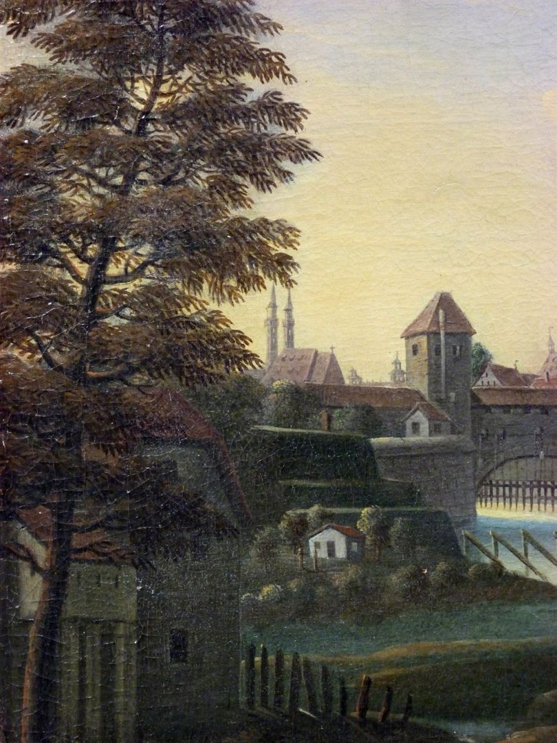 View of the City of Nuremberg from the east Detail with Wöhrder Wiese, wall (tower blue B) and river Pegnitz