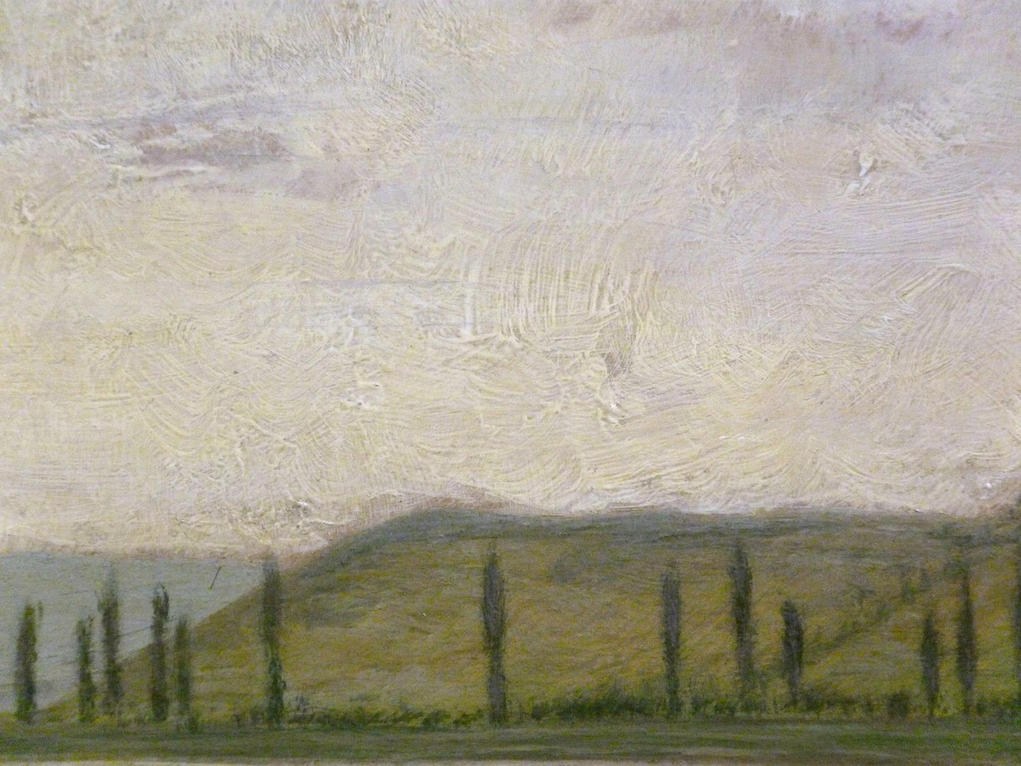 Main landscape Picture detail, centre of picture with painting structure