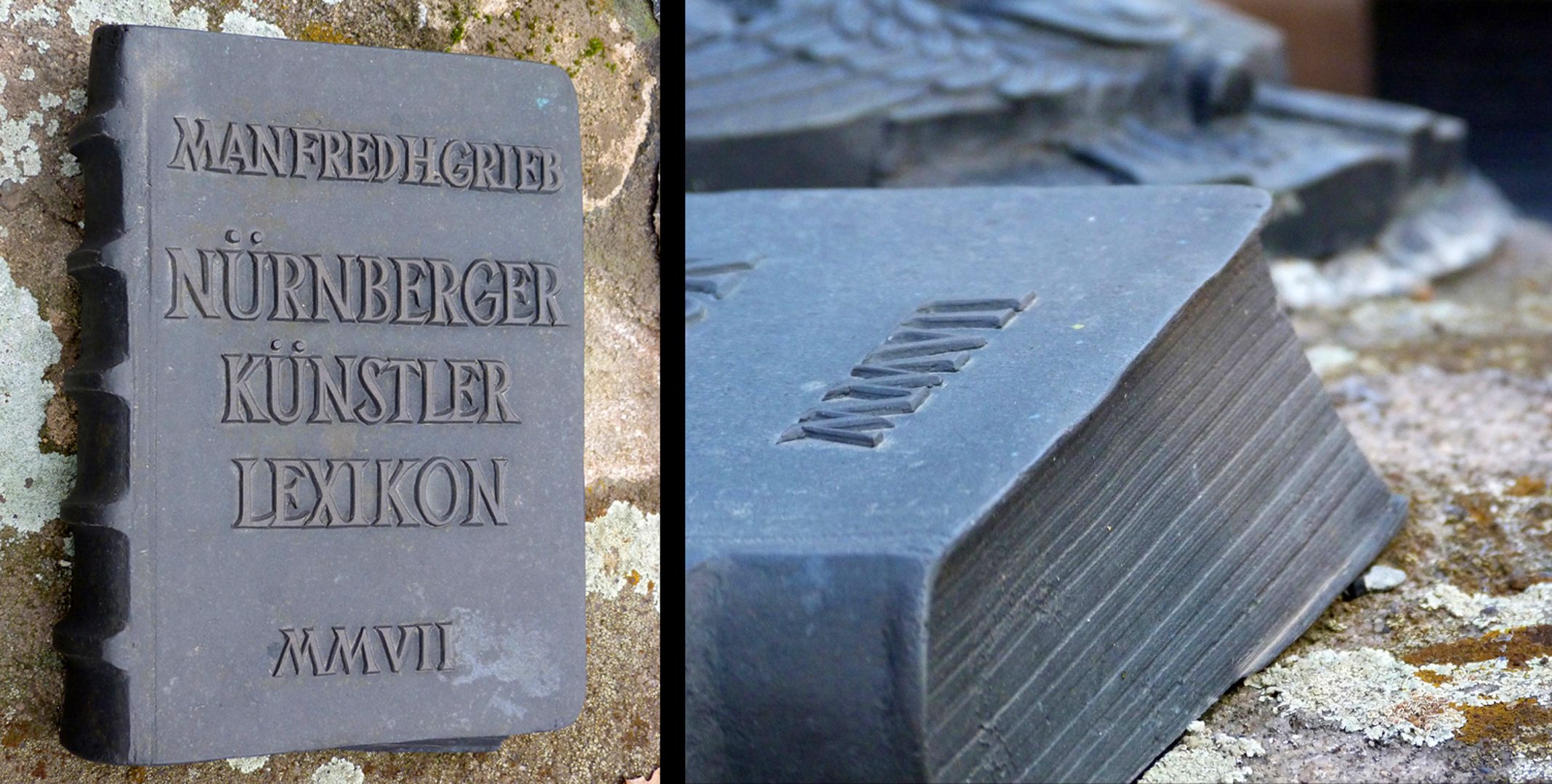 """Manfred Grieb gravesite Detailed view of the """"just put down"""" book"""