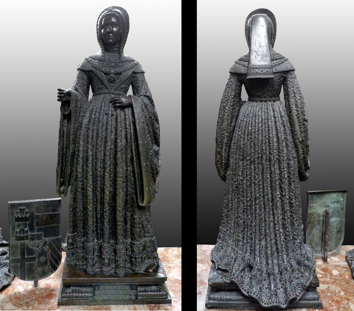 Margret of Austria (Innsbruck) Front and rear view in confrontation