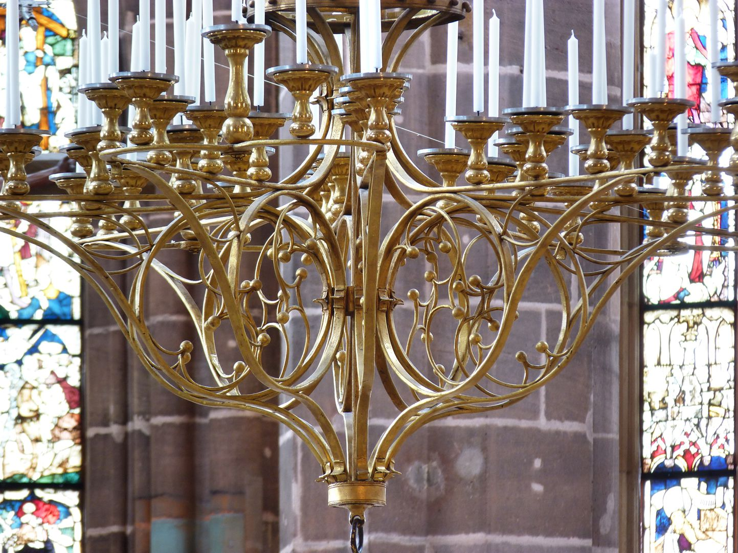 St. Mary´s chandelier Arms of the chandelier with circles of fish bladder tracery