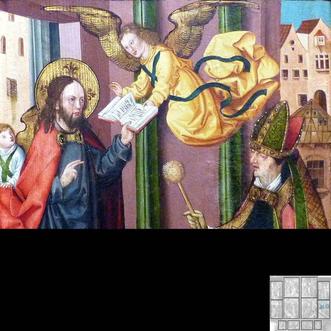Marthaaltar Martha im Grab, Totenamt durch Christus und Bischof Fronto von Périgueux, obere Bildhälfte