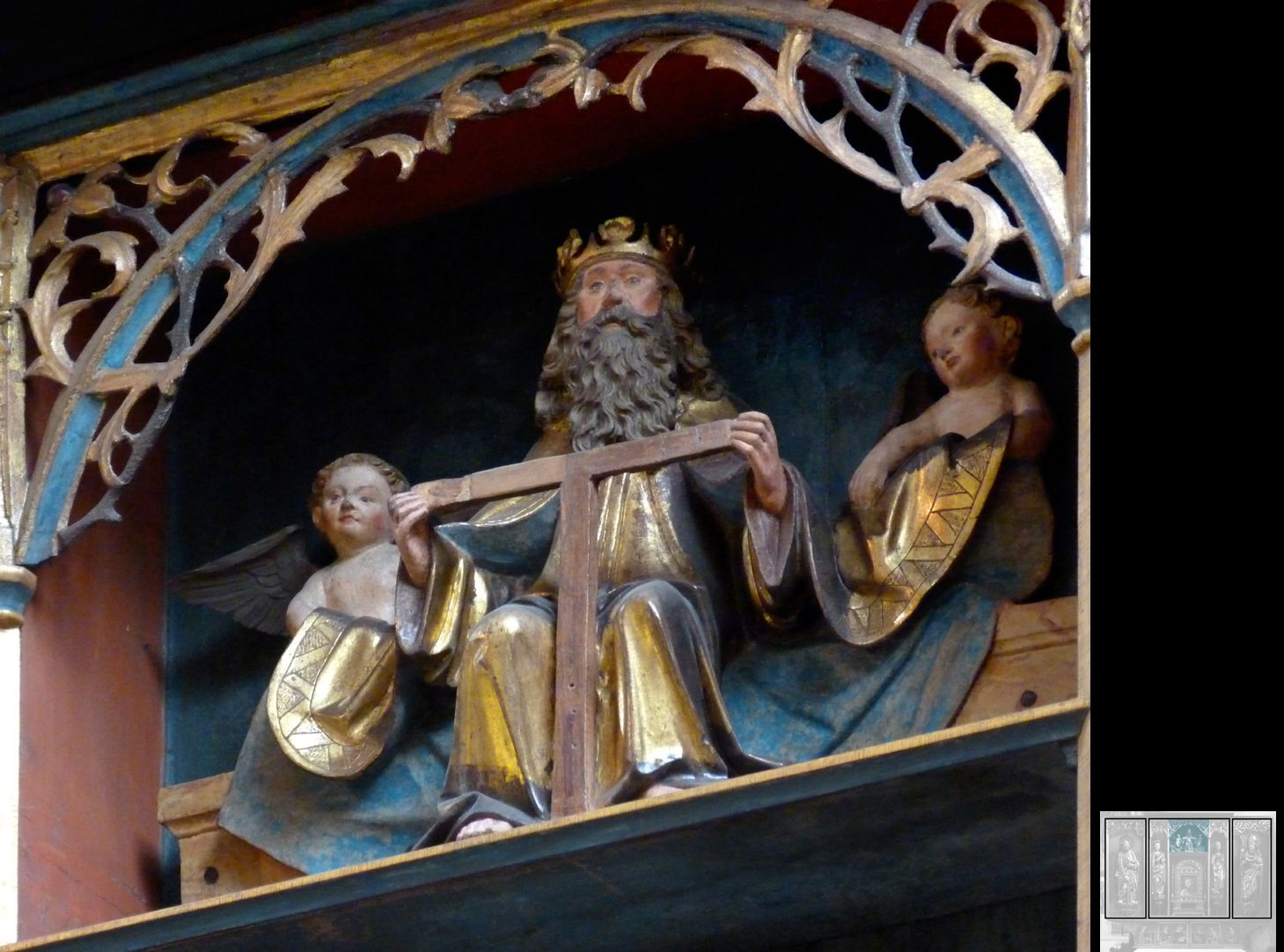 Marthaaltar Gottvater hält das Kreuz zwischen Assistenzengeln