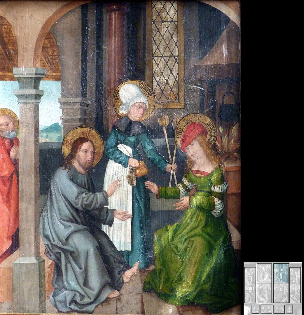 Marthaaltar Martha bewirtet Jesus, während die Schwester Maria von Bethanien seinen Worten zuhört