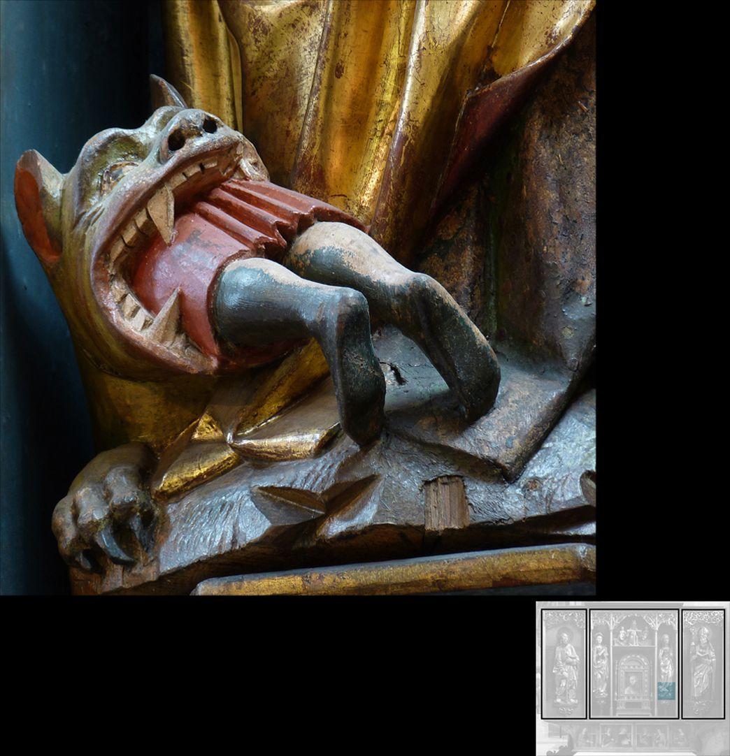 Marthaaltar Martha, Detail mit menschenfressenden Drachen Tarascus