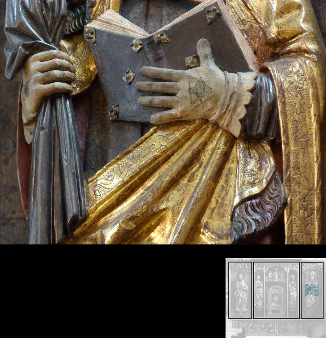 Marthaaltar Bischof Fronto von Périgueux ?, Detail, Hände