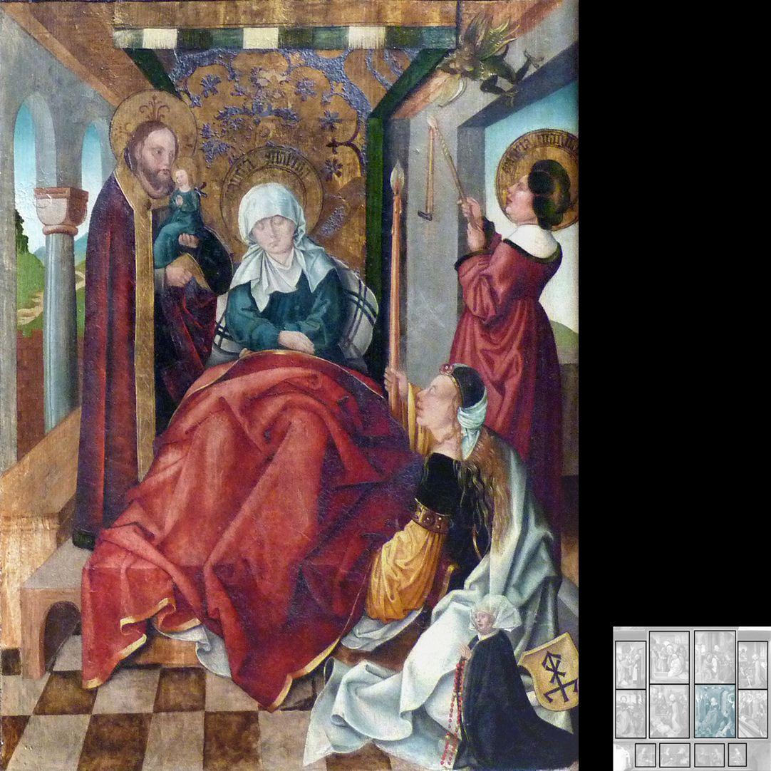 Marthaaltar Am Sterbelager der Martha entzündet die 8 Tage zuvor gestorbene Schwester Maria von Bethanien die von Dämonen gelöschten Kerzen. Marthas Seele wird von Jesus gehalten. Unten rechts Stifterin mit Wappen.