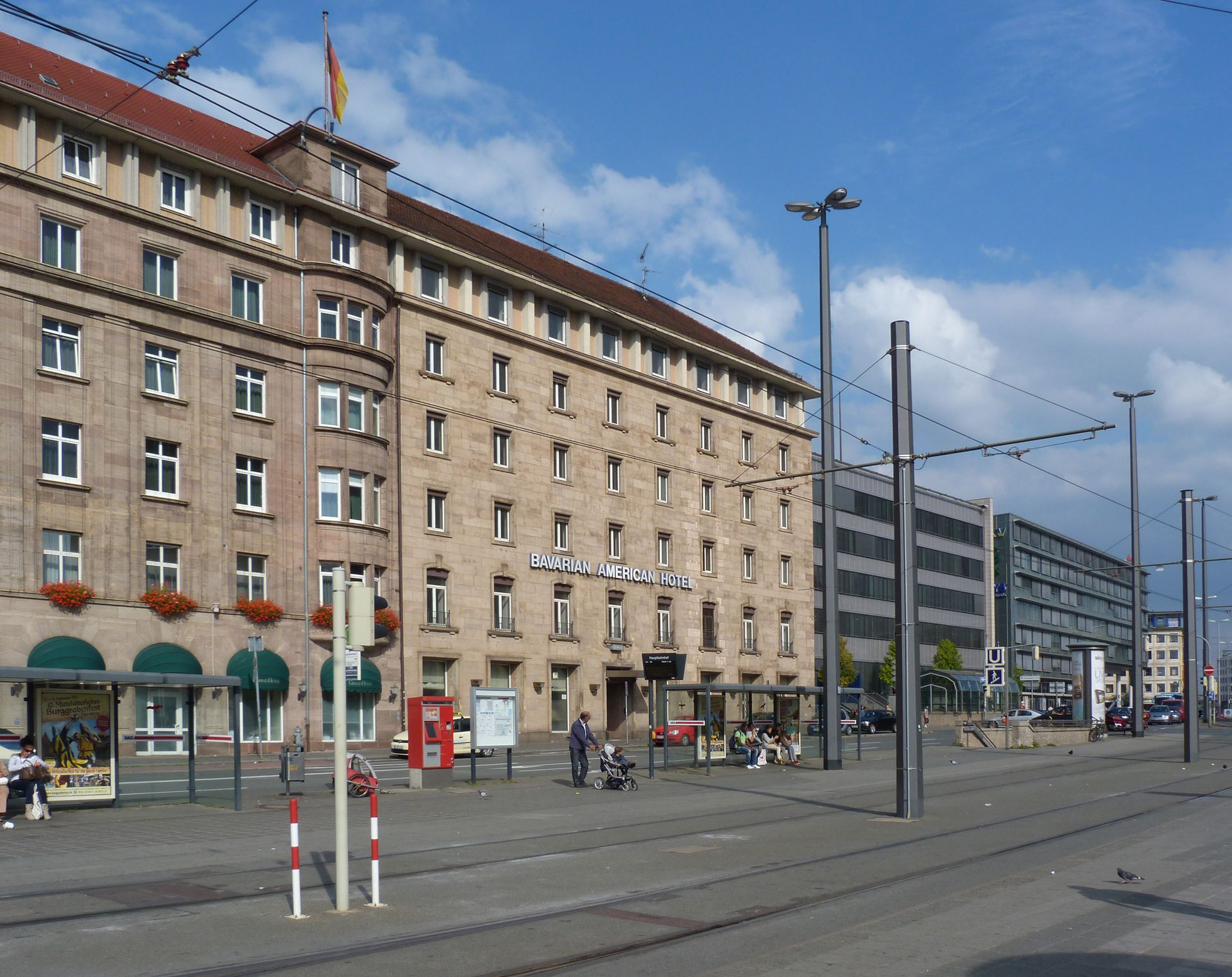 """Bahnhofsplatz, former guest-house of the """"City of the Party Rallies"""" Hotel building"""