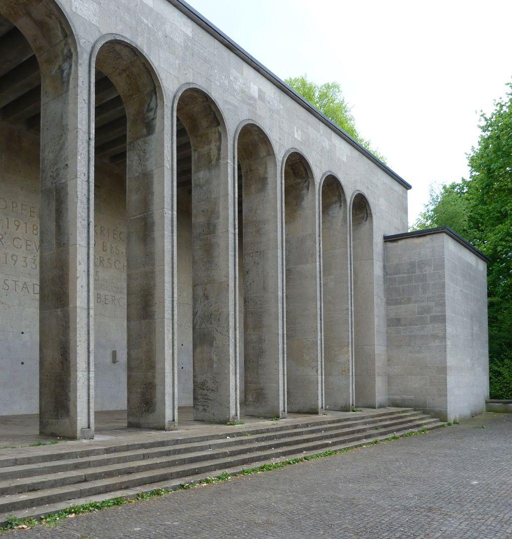 War memorial in Luitpoldhain Arcade hall, diagonal view